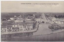 Gard - Aigues-Mortes - La Gare Et Perspective Du Canal De Beaucaire - Aigues-Mortes