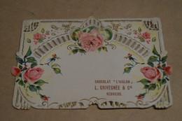 Ancienne Carte Gaufrée Publicitaire Chocolat Aiglon,L.Grivegnée Et Cie.,Verviers,11,5 Cm. Sur 8 Cm. - Chocolat