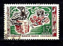 DAHOMEY 208° 15f Lie De Vin, Vert Et Sépia Danses Folkloriques Danse Nago (10% De La Cote + 015) - Benin - Dahomey (1960-...)