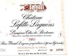 Etiquette (11X 8,9) Château LAFITTE-LAGUENS 1985 1ere Cotes De Bordeaux René Floréal Laguens à Yvrac 33 - Bordeaux