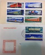 LOT DE 2 ENVELOPPES DDR 8 TIMBRES OBLITERES TOUS DIFFERENTS 7 TRAINS 1 BATEAU - Trains