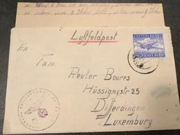 Luxembourg Lettre Feldpost Contenu Luftfeldpost - 1940-1944 Occupation Allemande