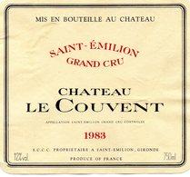 Etiquette (10,8X9,8) Château Le COUVENT  1983  Saint Emilion Grand Cru  SCCC Propriétaire à St Emilion 33 - Bordeaux