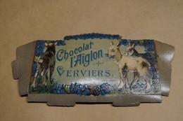Ancien Grand Carton Publicitaire Chocolat Aiglon,Verviers,27 Cm. Sur 13 Cm.collector - Chocolat