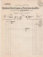 Facture 1912 / Station électrique Du Pont Du Gouffre / 54 Bd Thiers / Magasin Le Thillot / 88 Remiremont Vosges - 1900 – 1949