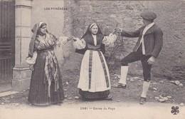 LES PYRENEES. DANSE DU PAYS. MITL. FRANCE. CIRCULEE 1907 A ARGENTINE. TIMBRE ARRACHE- BLEUP - Kostums