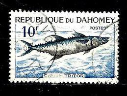 DAHOMEY 225° 10f Bleu-vert Et Ardoise Poissons Cybium Tritor. (10% De La Cote + 015) - Benin - Dahomey (1960-...)