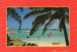 Ile Maurice Mauritius Kuxville Animée La Plage Voilier Planche à Voile - Maurice