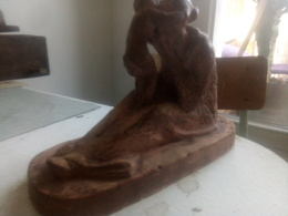 Gilbert Privat Mère Et L'enfant Terre Cuite - Sculptures