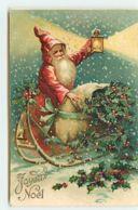 N°11485 - Carte Fantaisie Gaufrée - Joyeux Noël - Père Noël Sur Un Traîneau Avec Une Lanterne - Noël