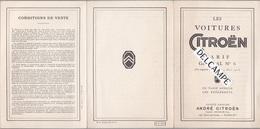 Les Voitures CITROEN 10 CV .Dépliant Tarifaire 1926 Tarif Général N°6 .AC.359 - - Automobile