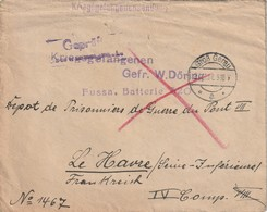 WW1 - Enveloppe Geprüft De Gross Gerau Vers Le Havre ( Dépôt De Prisonniers De Guerre Du Pont VII) - Allemagne