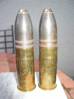 2 Obus  37-85mm , Décorés , Gravés Marne 1917. - Armes Neutralisées