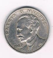 VEINTE  CENTAVOS  1962 CUBA /8567/ - Cuba