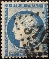 FRANCE Y&T N°60C Cérès 25c Bleu. Oblitéré Losange GC. - 1871-1875 Cérès