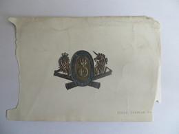 Artillerie Militaria Armoiries Collées Sur Papier Angleterre LINCOLNSHIRE VOLUNTEER ARTILLERY Document Ancien - Vieux Papiers