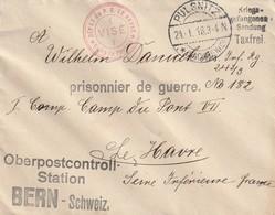 WW1 - Enveloppe Geprüft De Pulsnitz Vers Le Havre ( Dépôt De Prisonniers De Guerre Du Pont VII)- Via Bern (Suisse) - Lettres & Documents