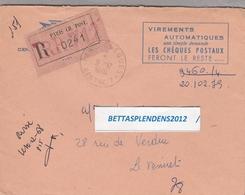 LSC 1968 - Recommandé PARIS CH. POST. - Cachet Paris Chèques - Centre 7 - Marcophilie (Lettres)