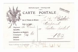 Carte En Franchise Militaire - 3 Drapeaux - Marcophilie (Lettres)