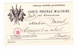 Carte En Franchise Militaire - 3 Drapeaux - Grande Guerre Européenne - Cachet étoile - Marcophilie (Lettres)