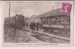 LES ROUSSES (39) : GARE DE LA COLONIE DU FORT DES ROUSSES - TRAM ELECTRIQUE MOREZ A NYON  - ECRITE 1933 - 2 SCANS - - France