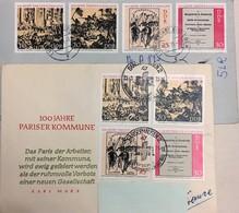 LOT DE 2 ENVELOPPES DDR CENTENAIRE DE LA COMMUNE PARISIENNE - 8 TIMBRES EN PAIRES - Révolution Française