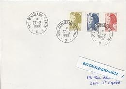 LSC 1980 - Ambulant - Cachet SCE BORDEAUX à LYON D  Sur Timbres YT 2182 & YT 2240 & YT 2241 - Marcophilie (Lettres)
