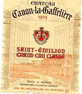 Etiquette (9,8 X13,1) Château CANON-La-GAFFELIERE 1979 Saint Emilion Grand Cru Classé Comtes De Neipperg à St Emilion 33 - Bordeaux