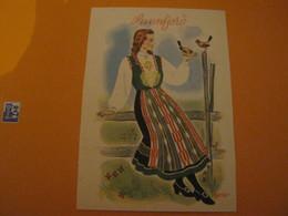 Norway -Norvège  SUNNFJORD .Femme Costume Folklore , Oiseaux, - Norvège