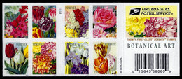 USA, 2016 Scott #5042-5051 (5051c),  Botanical Art, Double Sided Booklet Of 20,  MNH, VF - Ongebruikt