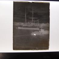 Négatif Photo Ancienne Plaque De Verre Bateau Voiliers 3 Mats à Identifier - Plaques De Verre