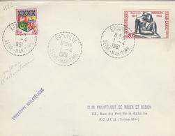 LSC 1961 - Cachet Perlé - EPOUVILLE (Seine Maritime) - (1er Jour D'ouverture ?) Sur YT 1281 - Marcophilie (Lettres)