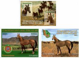 Turkmenistan. 2001   Horses(Flag).  3 S/S - Turkménistan