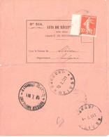 Avis De Réception N° 514 Destination BULGARIE Sliven 0,10 F Semeuse N° 138 Paris 81 16/01/11 Ambulant Bulgare - France