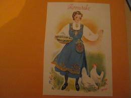 Norway -Norvège ROMERIKE .Femme Costume Folklore ,poules - Norvège