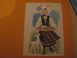 Norway -Norvège NORDFJORD .Femme Costume Folklore ,légumes, Chèvre - Norvège