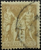 France N°105 Sage 2 Fr. Bistre Sur Azuré. Oblitéré - 1876-1878 Sage (Type I)