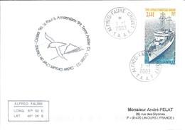 """TAAF - Alfred Faure-Crozet: Lettre 40ème Mission Avec Timbre N°351 Navire """"Bougainville"""" - 01/01/2003 - Terres Australes Et Antarctiques Françaises (TAAF)"""