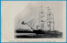 CPA 35 CANCALE (Bateau Voilier) Une Goëlette Cancalaise En Route Pour St Saint-Pierre Et Miquelon °A. Robinot / A. Waron - Segelboote
