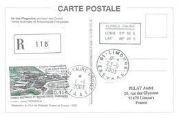 TAAF - Alfred Faure-Crozet: Carte Recommandée Avec Timbres N°349 Usine Langoustière Et 362 Ile Aux Pingouins 01/01/2003 - Terres Australes Et Antarctiques Françaises (TAAF)