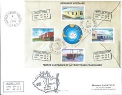TAAF - Alfred Faure-Crozet: Lettre Avec Bloc-feuillet N°11 Gérances Postales - 01/01/2004 - Terres Australes Et Antarctiques Françaises (TAAF)