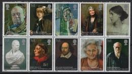 GB - UK (2006) Yv. 2774/83  /  Paintings - Darwin - Churchill - Shakespeare - Woolf - Eliot - Arte