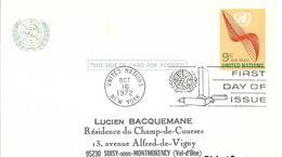 Onu, United Nations, Nations Unies,new York, Entier Postal 1972, Carte Postale Fdc, Poste Aérienne 9 C , Air Mail - New York -  VN Hauptquartier
