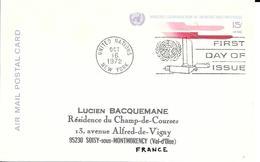 Onu, United Nations, Nations Unies,new York, Entier Postal 1972, Carte Postale Fdc, Poste Aérienne 15 C , Air Mail - New York -  VN Hauptquartier