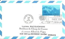 Onu, United Nations, Nations Unies,new York, Entier Postal 1975, Carte Postale Fdc, Poste Aérienne 11 C , Air Mail - New York -  VN Hauptquartier