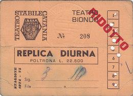 PALERMO /  Biglietto D'ingresso - TEATRO BIONDO _  Stagione 1974-75 - Tickets D'entrée