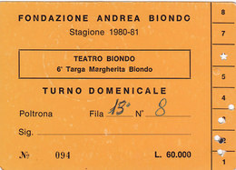 PALERMO /  Biglietto D'ingresso - TEATRO BIONDO _  Stagione 1980-81 - Tickets D'entrée