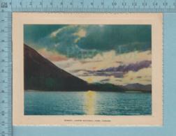 Carte De Voeux Pliante - Feuille Chromo Sur Carton , Représentation: , Sunset Jasper National Park   Canada - Chromos