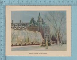 Carte De Voeux Pliante - Feuille Chromo Sur Carton , Représentation: , Chateau Laurier Ottawa Canada - Chromos