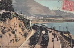 MONTE CARLO. LES TRAINS EN GARE DE MONTE CARLO. CIRCULEE 1907 A ARGENTINE- BLEUP - Monte-Carlo